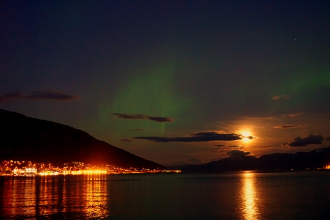 """...when the moon rose over Tromsø with a splash of the northern lights..."""